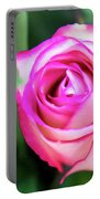 Pink Rose With Leaves Portable Battery Charger