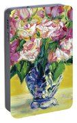 Pink Roses In Blue Deft Vase Portable Battery Charger