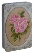 Pink Roses Oval Framed Portable Battery Charger