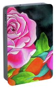 Pink Roses With Orange Portable Battery Charger
