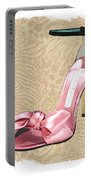 Pink Satin Ankle Straps On Safari Portable Battery Charger