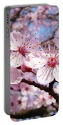 Pink Spring Blossoms Art Print Blue Sky Landscape Baslee Troutman Portable Battery Charger
