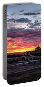 Pink Sunset Behind A Church Portable Battery Charger