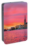 Pink Sunset Over Stockholm Portable Battery Charger