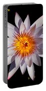Pink Tipped Water Lily On Black Portable Battery Charger