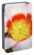 Pink Tulip Flower Orange Art Prints Honey Bee Baslee Troutman Portable Battery Charger