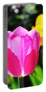 Pink Tulip In Sunlight Portable Battery Charger