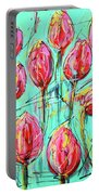 Pink Tulip, Turquoise Portable Battery Charger