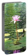 Pink Water Lily Pad Portable Battery Charger