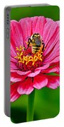 Pink Zinnia Bee Portable Battery Charger