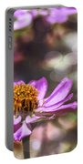 Pink Zinnia Bokeh Portable Battery Charger