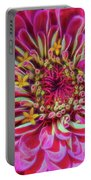 Pink Zinnia Glow Portable Battery Charger by Beth Sawickie