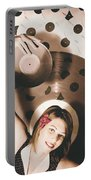 Pinup Dj Rocking Around The Clock  Portable Battery Charger