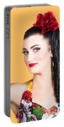Pinup Woman Holding A Cleaning Spray Bottle Portable Battery Charger