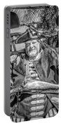 Pirate Captain And Parrots Black And White Portable Battery Charger