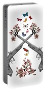 Pistols Wit Flowers And Butterflies Portable Battery Charger