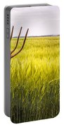 Pitch Fork In Wheat Field Portable Battery Charger