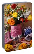 Pitcher Of Flowers Still Life Portable Battery Charger
