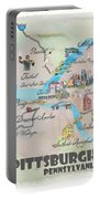Pittsburgh Pennsylvania Fine Art Print Retro Vintage Map With Touristic Highlights Portable Battery Charger
