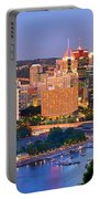 Pittsburgh Pennsylvania Skyline At Dusk Sunset Panorama Portable Battery Charger