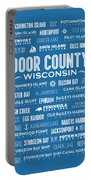 Places Of Door County On Blue Portable Battery Charger