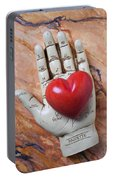 Plam Reader Hand Holding Red Stone Heart Portable Battery Charger
