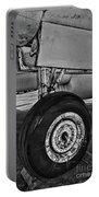 Plane - Landing Gear In Black And White Portable Battery Charger