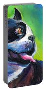 Playful Boston Terrier Portable Battery Charger by Svetlana Novikova