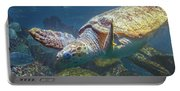 Playful Green Sea Turtle Portable Battery Charger