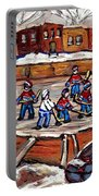 Playoff Time At The Local Hockey Rink Montreal Winter Scenes Paintings Best Canadian Art C Spandau Portable Battery Charger