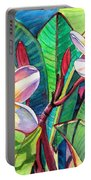 Plumeria Garden Portable Battery Charger by Marionette Taboniar
