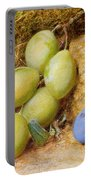 Plums And A Rose Hip On A Mossy Bank Portable Battery Charger