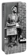 Poet For Hire, Portland, Maine  -31172-bw Portable Battery Charger by John Bald