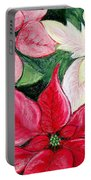 Poinsettia Pastel Portable Battery Charger by Nancy Mueller