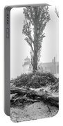 Point Betsie Lighthouse In Fog Portable Battery Charger