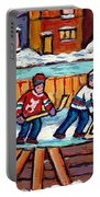 Outdoor Hockey Rink Painting  Devils Vs Rangers Sticks And Jerseys Row House In Winter C Spandau Portable Battery Charger