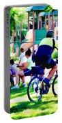 Police Officer Rides A Bicycle Portable Battery Charger