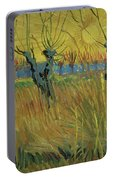 Pollarded Willows And Setting Sun Portable Battery Charger