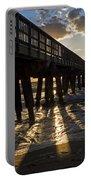 Pompano Beach Fishing Pier At Sunrise Florida Sunrays Portable Battery Charger