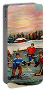 Pond Hockey Countryscene Portable Battery Charger