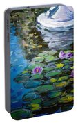 Pond In Monet Garden Portable Battery Charger