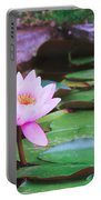 Pond With Water Lilly Flowers Portable Battery Charger