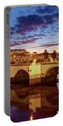 Ponte Romana At Dusk - Tavira, Portugal Portable Battery Charger by Barry O Carroll