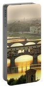 Ponte Vecchio Enlighten By The Warm Sunlight, Florence. Portable Battery Charger