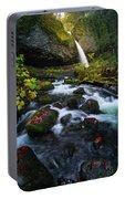 Ponytail Falls With Autumn Foliage Portable Battery Charger