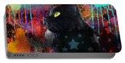 Pop Art Black Cat Painting Print Portable Battery Charger