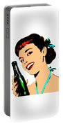 Pop Art Girl With Soda Bottle Portable Battery Charger