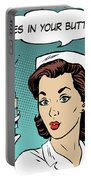 Pop Art Nurse Woman With A Needle And Speech Bubble Portable Battery Charger