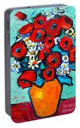 Poppies And Daisies Bouquet Portable Battery Charger