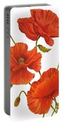 Poppies On White Portable Battery Charger